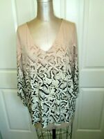 CALVIN KLEIN BLUSH PINK/BROWN PRINT 3/4  TULIP SLEEVE TUNIC SZ 2X EXCLNT COND!
