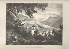 Stampa antica originale Lago di LUGANO Svizzera 1880 Old Print Switzerland