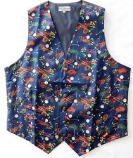 Pure silk golfers waistcoat Navy blue sporting theme golf gift for men M NEW