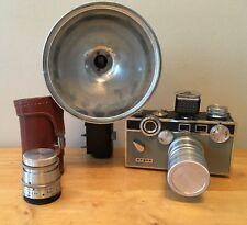 Vintage Argus Brick Camera (1940s) + Tele-Sandmar 100mm F:4.5 lens flash 50mm