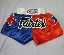 Muay Thai Shorts Fairtex Kick Boxing Red Blue Multi Color New Size L Satin Adult