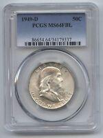 1949-D Silver Franklin Half Dollar PCGS MS 64 FBL Certified - Denver Mint AX988