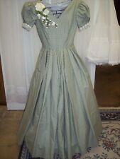 Civil War/Victorian Era Homespun Green Check pattern Day Gown, size 16