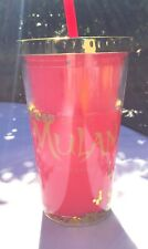 Mulan Movie Shiny Glitter In Water Cup Red/Gold Hoyts Golden Link & Straw