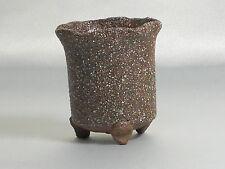 """Bonsai pot en grès """"petit Shigaraki marron fleur"""" d6.5 cm planter japonais"""
