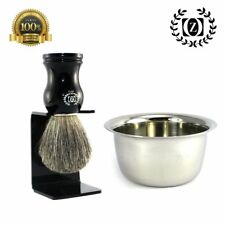 MEN'S WET SHAVING SET 3 PC PURE BADGER HAIR SHAVE BRUSH, SHAVING CUP + DIP STAND