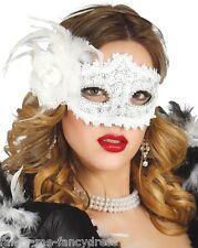 SEXY Donna Bianco Fiore Masquerade Ball Carnevale Occhi Maschera Costume