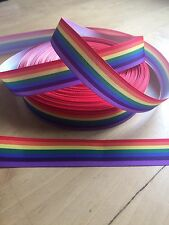 20CH STRIPE RAINBOW GAY PRIDE 22mm 7//8inch grosgrain ribbon,