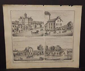 Illinois Adams County Map Maplewood School Casco Mills  Engravings 1872 K18#82