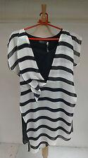 WO416 Mint Velvet Black/Ivory Stripe Asymmetric Tunic Size 10