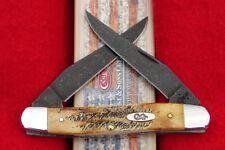 Case XX 6.5 Bone Stag - Blued Damascus Steel - Muskrat Pocket Knife - USA 34803