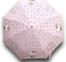 Finex Hello Kitty Pink Manual Tri fold Folding Compact Travel Rain UV Umbrella