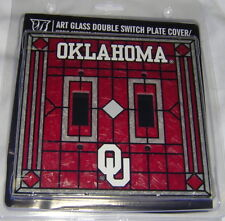 Oklahoma Sooners Art-Glass Double Switch Plate Cover FREE SHIPPING