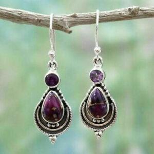 Fashion 925 Silver Amethyst Hook Drop Dangle Earrings Engagement Wedding Jewelry