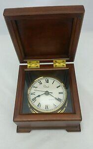 Colonial Quartz Nautical Desk Clock in Hinged Wood Box Molyneux France