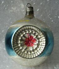 "Vintage Glass Christmas Ornament 3.5"" Double Indent Blue Stripe Pink Indent"