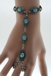 Women Silver Bracelet Fashion Jewelry Metal Hand Chain Slave Ring Turquoise Blue