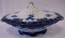 HENRY ALCOCK & CO. GRENADA SEMI PORCELAIN FLOW BLUE TUREEN