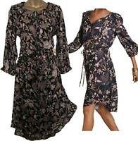 NEW IN! STUNNING NEXT Black Gold Bronze Floral Leaf Drawstring Waist Dress 10-20