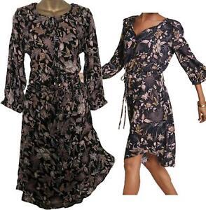 NEW IN! STUNNING NEXT Black Gold Bronze Floral Leaf Drawstring Waist Dress 10-20