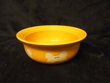 "Rainbow Bone Gold Yellow Ceramic Dog Dish Detailed White Dog Bones  8"" W x 3 "" H"