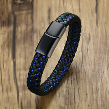 Custom Engraving Medical Alert ID Leather Bracelet Men Braided Stainless Steel