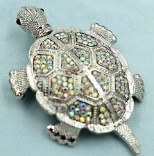 Big Sparkling Shaky Turtle Tortoise Pin Brooch Crystal Rhinestone Silver AB ZA08