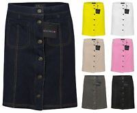 Womens Ladies Mini Denim Party Front Button Pocket Casual Skirt Lined