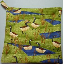 Deluxe Hot Pad / Pot Holder : GEESE IN THE MARSH/ Debbie Mumm :  Quilted