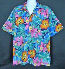 Hilo Hattie Hawaiian Mens XL Short Sleeve Button Front Cotton Multi-Color FloraL
