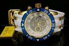 New Invicta Men Pro Diver 50 MM Chrono 18K Gold Plated White Dial S.S Poly Watch