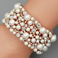 ROSE GOLD Plated Pearl Clear Crystal Wedding Bangle Cuff Stretch Bracelet 09817