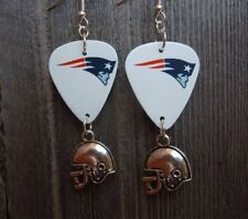 Earrings with Football Helmet Charm Dangles Nfl New England Patriots Guitar Pick