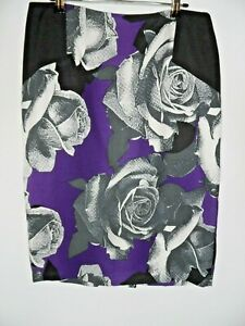 PER UNA Floral Pencil Skirt Size 12 Midi Rose Goth Work Straight