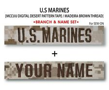 US MARINES Branch & Name Tape (Desert) For Sew-On *Name is Required*
