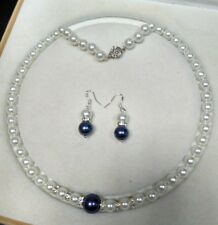 8-12mm white Blue Akoya Shell Pearl necklace AAA 18 inches Earring Set Y03