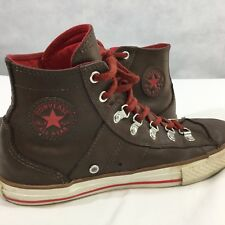 Converse All Star Chuck Taylor Sneakers Sz 6 Leather High Top Brown Red Laces