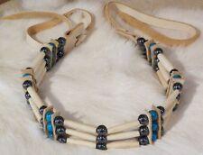 Native American Bone Choker Howlite Turquoise Hematite Stones Cherokee Regalia