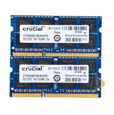 Crucial 2x 8GB 2Rx8 PC3L-12800S SODIMM RAM Laptop Memory Intel DDR3L 1600Mhz #6H