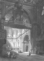 Naples Italy SANTA MARIA del CARMINE CHURCH CATHEDRAL ~ 1841 Art Print Engraving