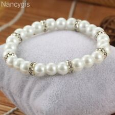 Silver Ivory Pearl Rhinestone Elastic Party Gift Bridal Wedding Bracelet