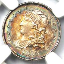 1833 Capped Bust Half Dime H10C Coin Rainbow Tone - NGC MS66 - $5,250 Value!