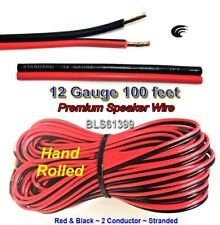 100' ft Red Black 12 Gauge SPEAKER WIRE Cable Home Car Audio Wiring 12V DC Power