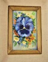 Marguerite Moore Hawkins Oregon Listed Pansy OIL Mid Century original Painting