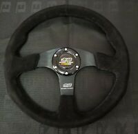 "14"" MUGEN Style Dished Black Stitching Suede Sport Steering Wheel w Horn Button"
