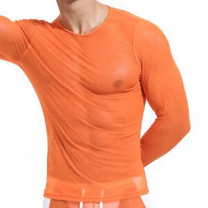 Mens T-Shirt Sheer Long Sleeve Tops Gym Sports Bodybuilding Mesh Vest Slim Shirt
