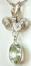"8 Carat Green Praseolite Pendant 925 Sterling 18"" Chain Handmade"
