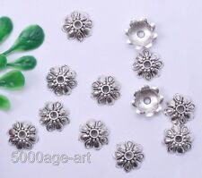 100Pcs Tibetan Silver Tone Tiny Flower End Bead Caps 9MM A0008