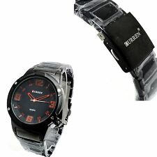 New All Black Curren Sports Dress Style 100% Water Proof Wrist Watch Men's Boys
