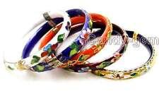 Wholesale 5X Multi-Color Cloisonne China Enamel Bangle Cuff Women Bracelet-w147
